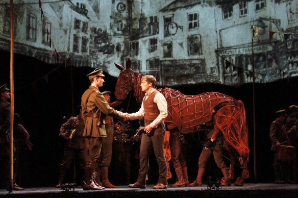 War Horse Australia Nicholls and Albert (Cody Fern) shake hands