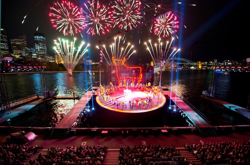 Carmen Handa Opera on Sydney Harbour fireworks