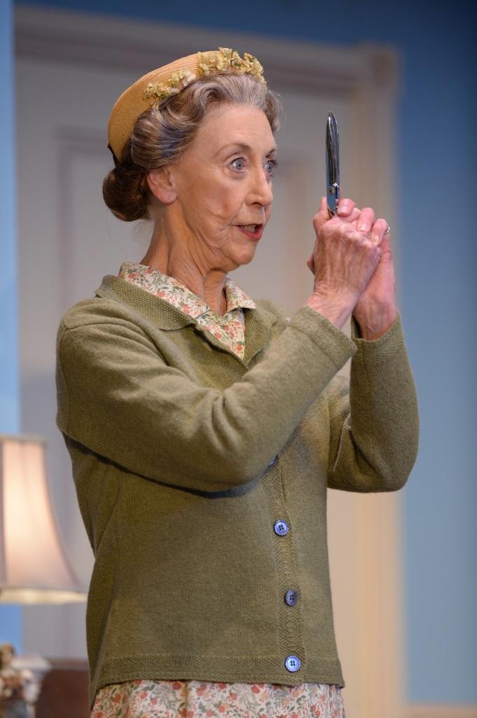 A Murder is Announced Australia, Judi Farr as Miss Marple with scissors