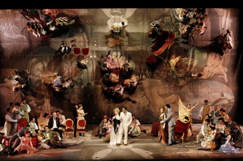 La traviata 2014 Victorian Opera, Jessica Pratt, Alessandro Scotto di Luzio, giant mirror