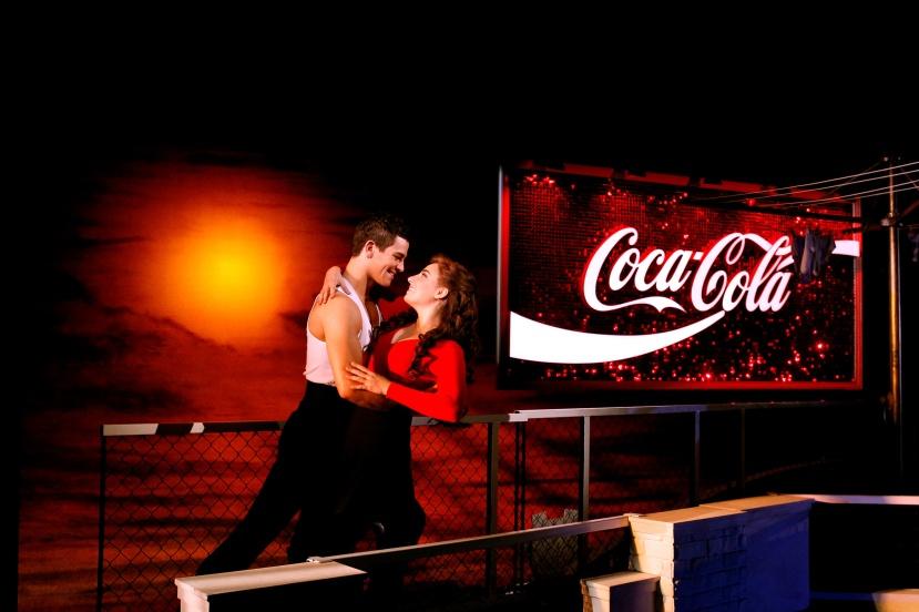 Strictly-Ballroom-musical,-Sydney,-Thomas-Lacey,-Phoebe-Panaretos,-Coca-Cola-sign