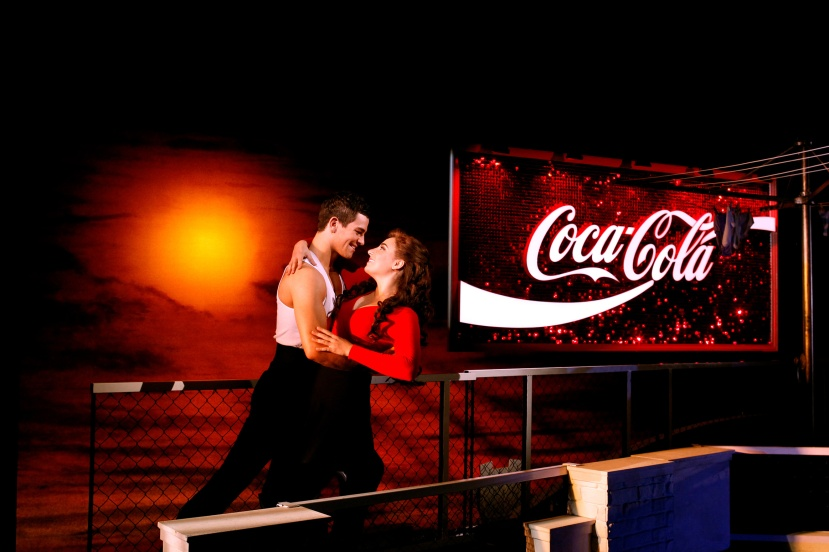 Strictly-Ballroom-musical,-Sydney,-Thomas-Lacey,-Phoebe-Panaretos,-Coca-Cola-sign