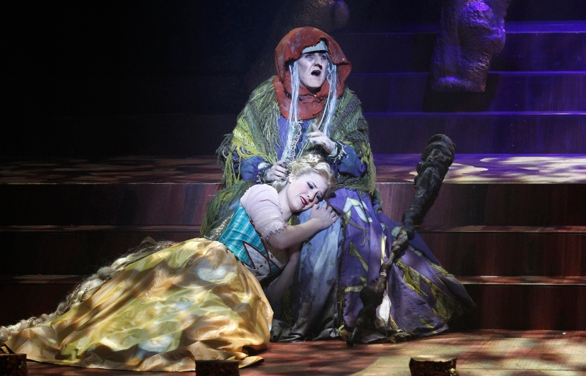 Victorian Opera 2014 Into the Woods, Queenie van de Zandt as WItch, Olivia Cranwell as Rapunzel