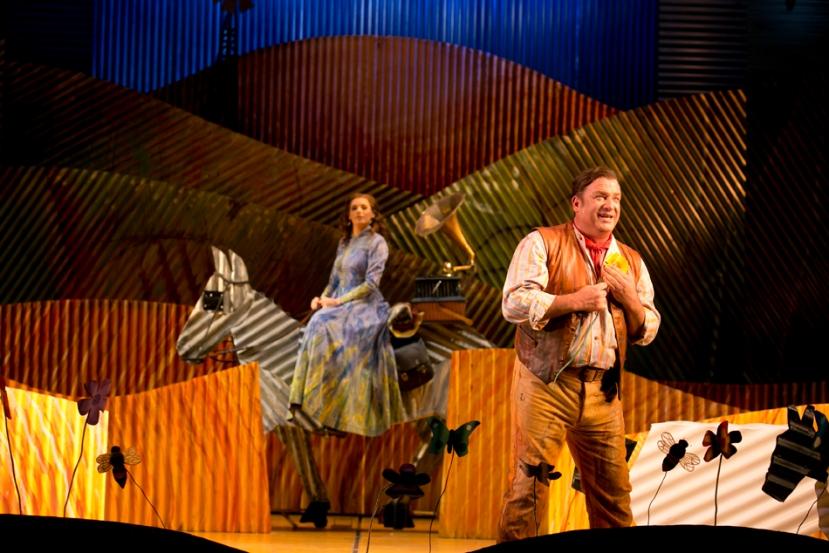 The Elixir of Love 2014 Opera Australia, Rachelle Durkin, corrugaetd iron horse, Aldo Di Toro
