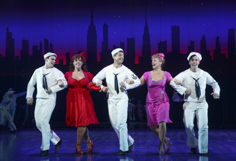 On The Town Broadway 2015 jay armstrong johnson, alysha umphress, tony yazbeck, elizabeth stanley, clyde alves