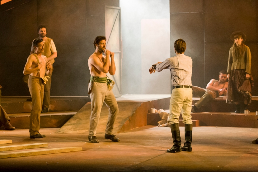Ned Kelly Musical, shirtless men boxing