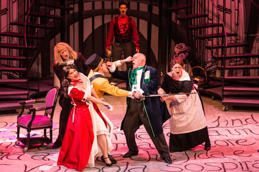 The Barber of Seville 2015 Melbourne Opera, David Gould (Don Basilio), Sally-Anne Russell (Rosina), Brenton Spiteri (Count Almaviva), Phillip Calcagno (Figaro), Roger Howell (Dr Bartolo) and Jodie Debono (Berta)