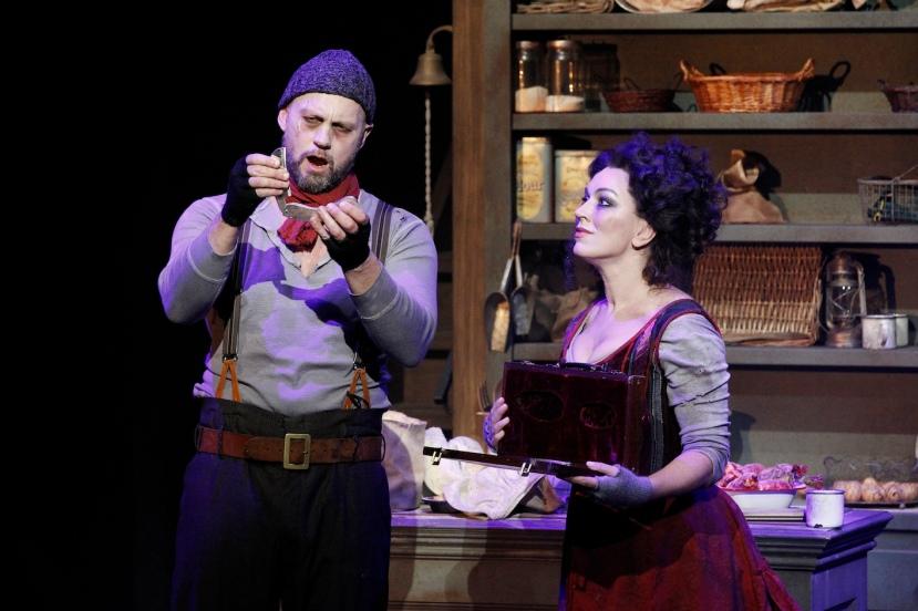 Sweeney Todd 2015 Victorian Opera, Teddy Tahu Rhodes as Sweeney, Antoinette Halloran as Mrs Lovett