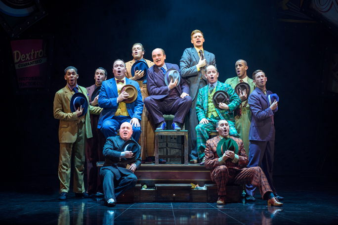 Guys and Dolls 2016 London, David Haig as Nathan Detroit and male company