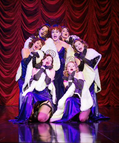 Guys and Dolls 2016 London, Sophie Thompson as Miss Adelaide with the Hot Box Girls