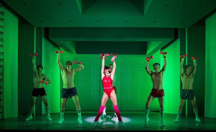 American Psycho, Broadway, shirtless aerobics