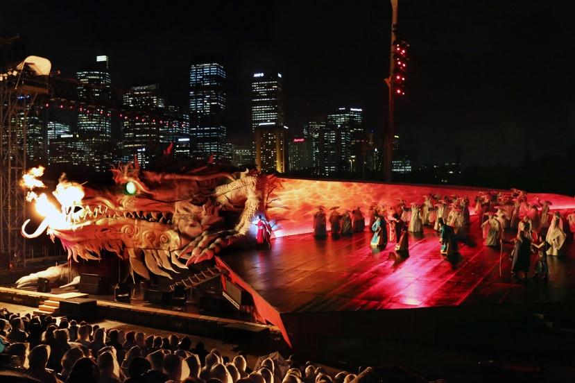 Turandot-2016-Handa-Opera-on-Sydney-Harbour,-fire-breathing-dragon